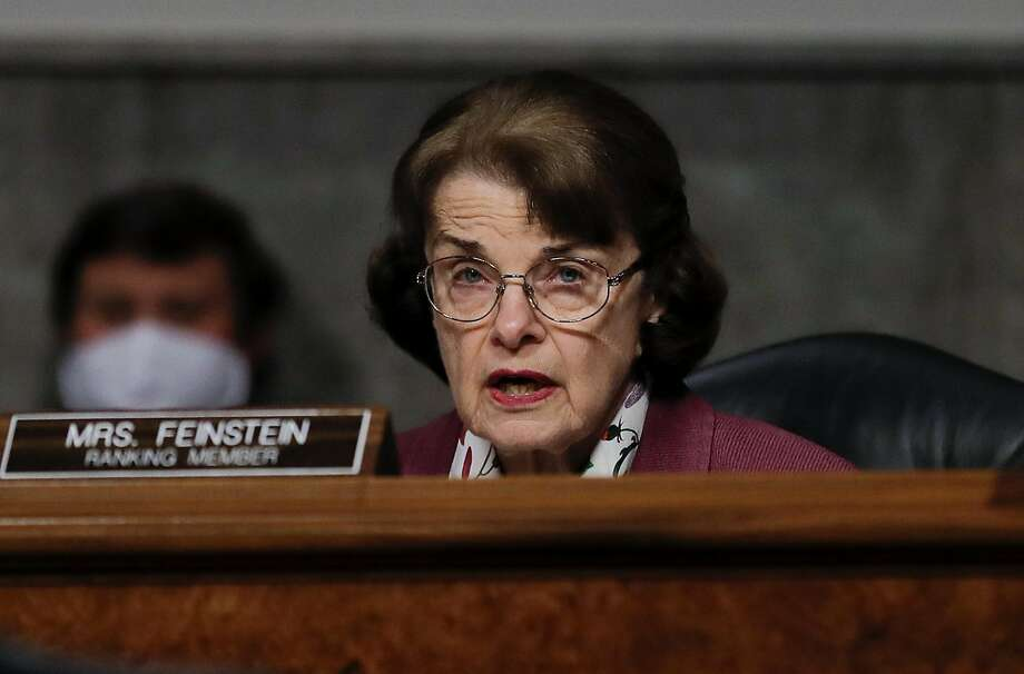 WASHINGTON, DC - MAY 12: U.S. Senator Dianne Feinstein (D-CA) participates in a Senate Judiciary Committee hearing examining liability during the coronavirus disease (COVID-19) outbreak May 12, 2020 on Capitol Hill in Washington, DC. (Photo by Carlos Barria-Pool/Getty Images) Photo: Pool / Getty Images