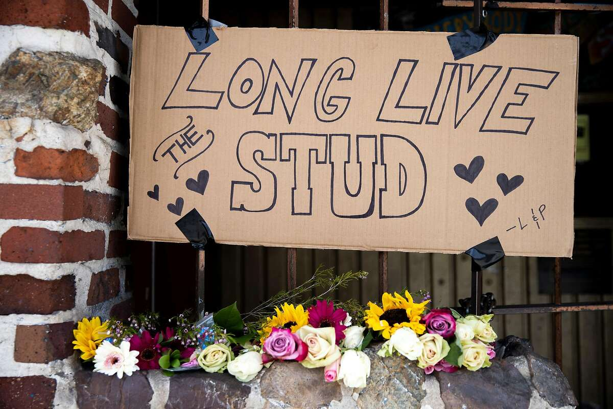 Flowers in front of the The Stud on Friday, May 22, 2020, in San Francisco, Calif. The Stud is permanently closing due to losses during the coronavirus pandemic. The Stud, located at 399 Ninth St., is the city�s oldest, continuously operated queer bar.