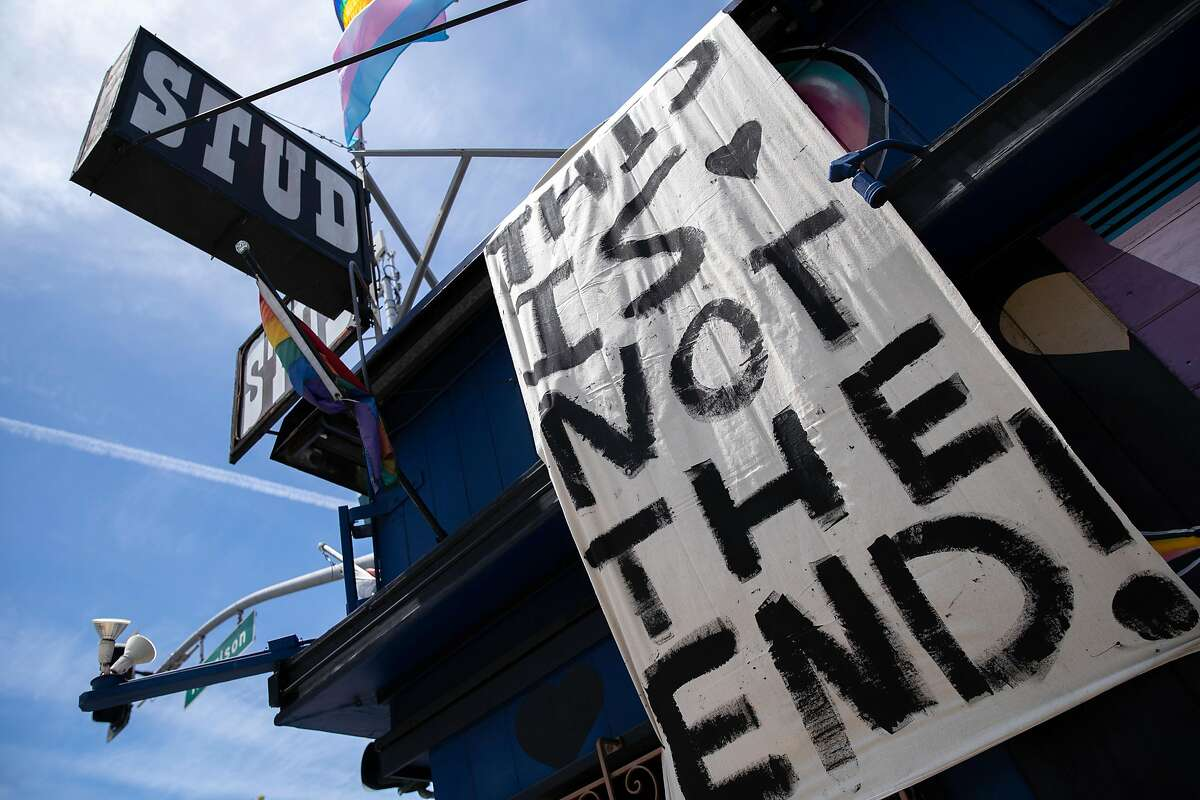 A sign outside the Stud on Friday, May 22, 2020, in San Francisco, Calif. The Stud is permanently closing due to losses during the coronavirus pandemic. The Stud, located at 399 Ninth St., is the city�s oldest, continuously operated queer bar.