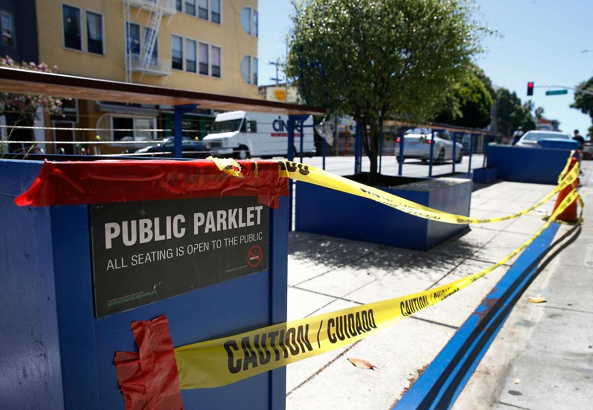 A parklet on Valencia Street near 21st Street is closed during the coronavirus pandemic in San Francisco, Calif. on Tuesday, May 26, 2020. The city may allow restaurants to serve meals in the parklets which are generally open to the public.