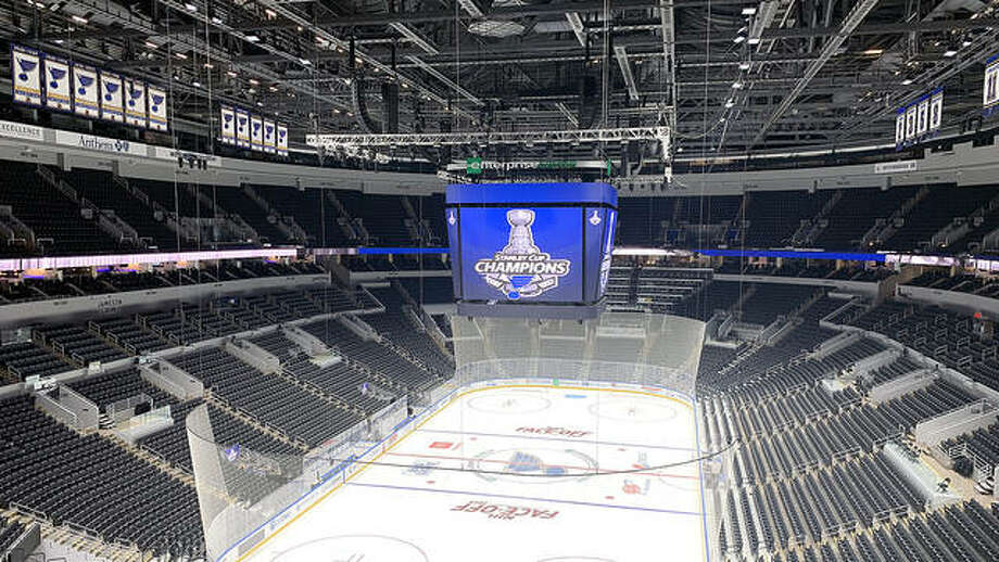 Enterprise Center in St. Louis, home of the Stanley Cup champion St. Louis Blues, sits empty. NHL teams will return to workouts next month followed by a 24-team playoff format. The Blues finished first in they Western Conference standings. Photo: AP Photo