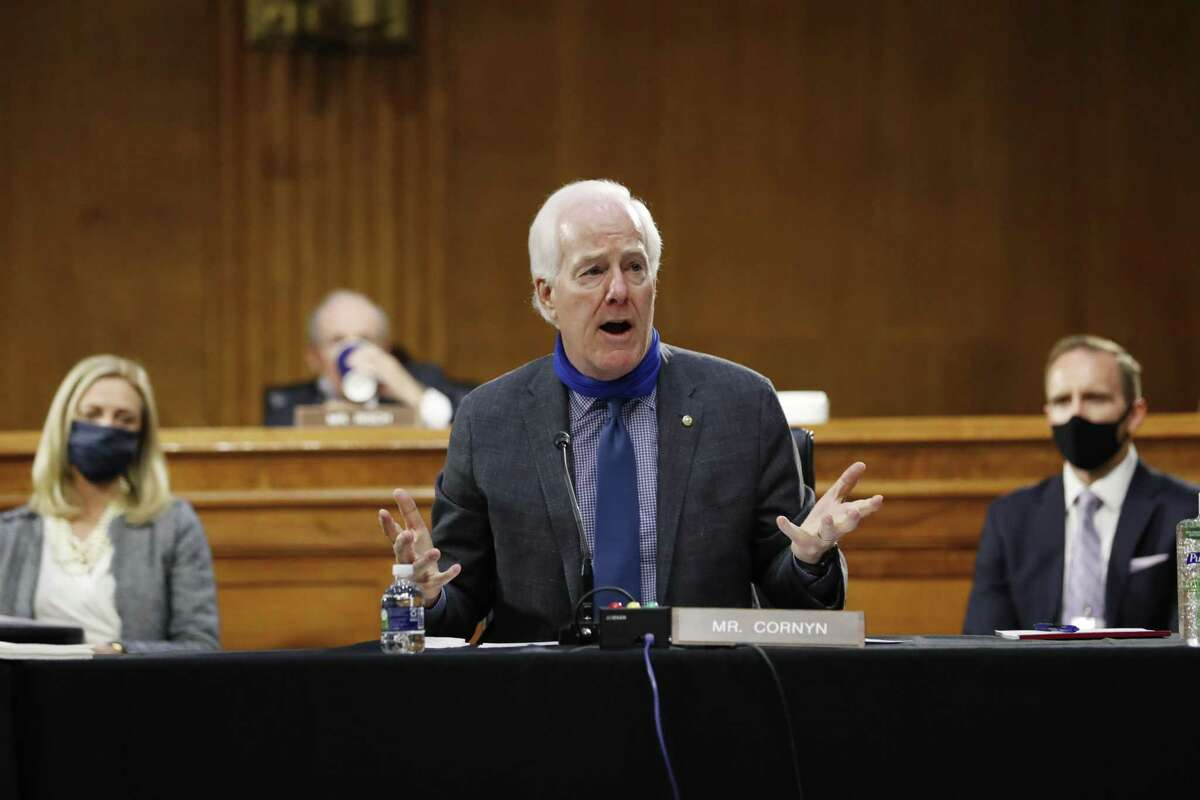 John Cornyn, a Republican from Texas, speaks during a Senate Intelligence Committee confirmation hearing for Texas Representative John Ratcliffe in Washington, D.C., U.S., on Tuesday, May 5, 2020. The hearing offers a second chance for Ratcliffe to become Trump's spy chief after he withdrew from consideration for the post last year after tepid Republican support and accusations he exaggerated his qualifications. Photographer: Andrew Harnik/AP Photo/Bloomberg