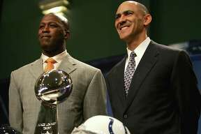 When Tony Dungy, right, was head coach of Tampa Bay he wanted his assistants like Lovie Smith, left, to get chances as head coaches. The two eventually met as head coaches of Indianapolis (Dungy) and Chicago (Smith) in the Super Bowl in 2007.