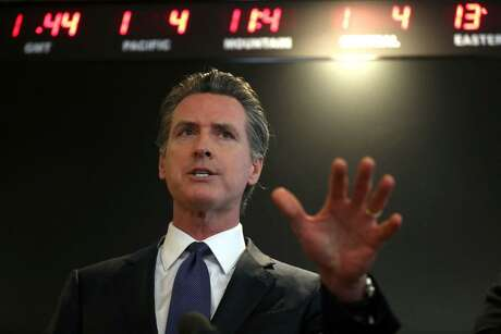 alifornia Gov. Gavin Newsom speaks during a news conference at the California Department of Public Health on Feb. 27, 2020 in Sacramento, Calif. Newsom said Monday afternoon professional sports might be able to play games without fans in attendance in early June.