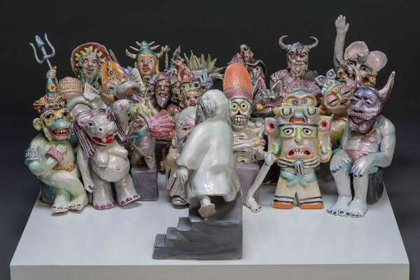 """Jennifer McCandless, """"Western Gods Trying to Convince Other Gods They Never Existed,"""" Ceramic."""