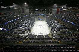 This photo of an empty Nationwide Arena, taken prior to Game 6 of the Stanley Cup playoffs series against the Bruins last May, will likely resemble what awaits all NHL players when the season resumes. (Adam Cairns/The Columbus Dispatch/TNS)