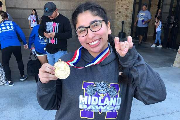 Midland High's NataliSanchez poses with her gold medal after winning the2020 THSWPA Region 1, Division I title in the 181-pound weight class on March 7 in Monahans. Courtesy photo