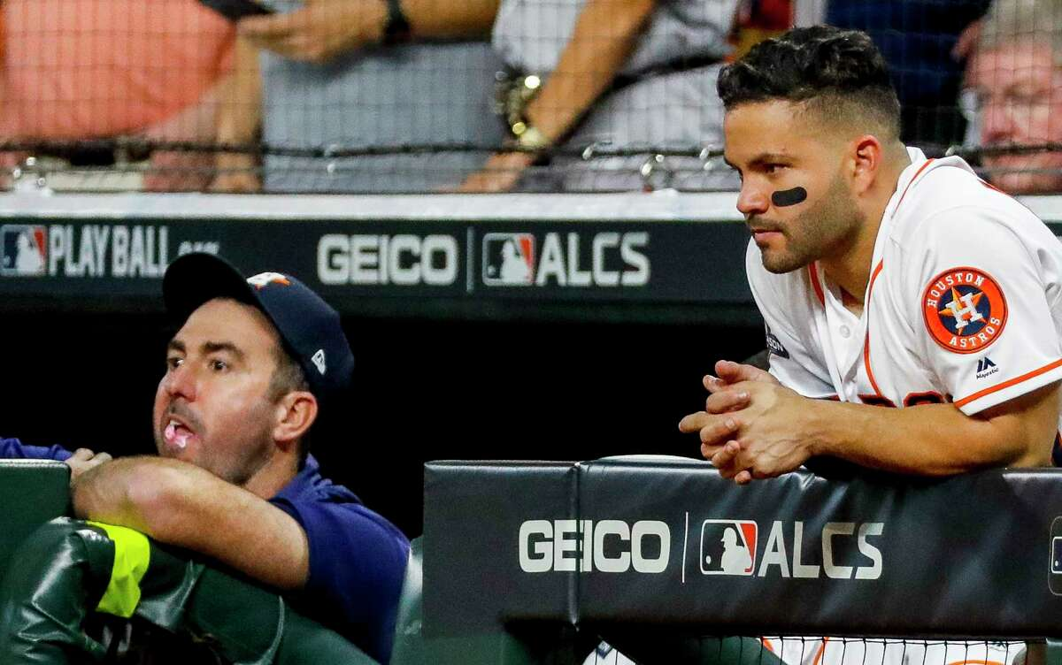 Pitcher Justin Verlander, left, and second baseman Jose Altuve are among the Astros facing the most dramatic salary reductions under MLB's latest proposal for a 2020 season.