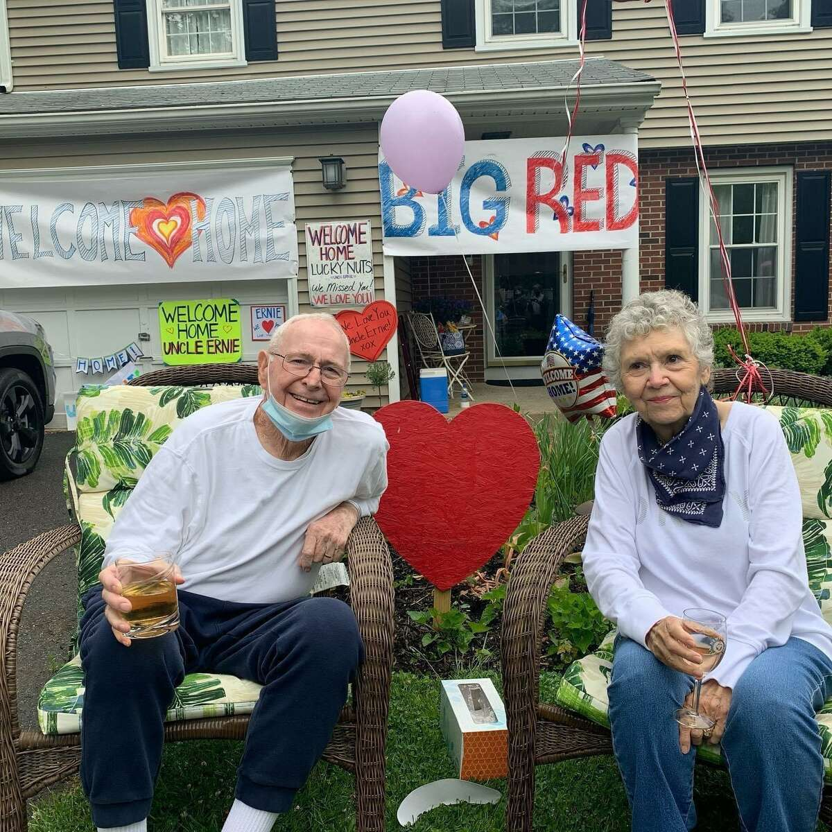 Ernie Oliver and his wife Penny celebrate Ernie's return home on Memorial Day after being hospitalized for coronavirus. Ernie Oliver, the father of Albertus Magnus men's basketball coach Mitch Oliver, was in a coma for 12 days before recovering.