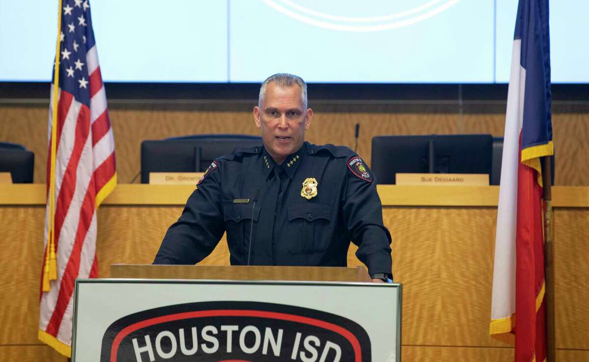 Pedro Lopez gives his speech after swearing in as HISD's new police chief Tuesday, May 26, 2020, in Houston. Lopez has more than 30 years of experience in law enforcement, including Houston Police Department and Harris County Sheriff's Office.