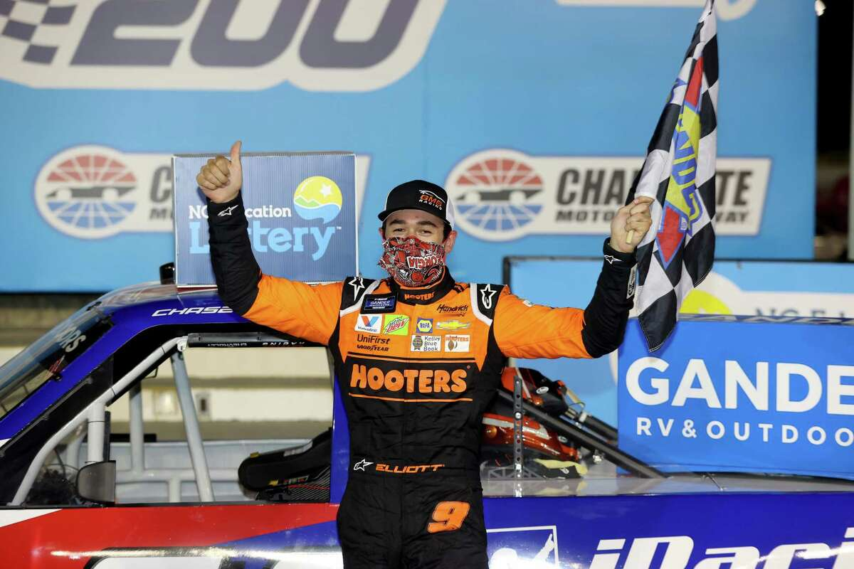 CONCORD, NORTH CAROLINA - MAY 26: Chase Elliott, driver of the #24 iRacing Chevrolet, celebrates in Victory Lane after winning the NASCAR Gander Outdoors Trucks Series North Carolina Education Lottery 200 at Charlotte Motor Speedway on May 26, 2020 in Concord, North Carolina. (Photo by Chris Graythen/Getty Images)