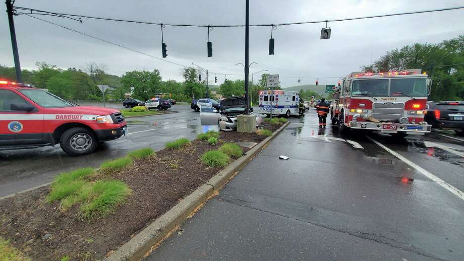 The scene of the crash near the Danbury Fair Mall on Saturday, May 23, 2020. Photo: Facebook / Hawleyville Volunteer Fire Company #1