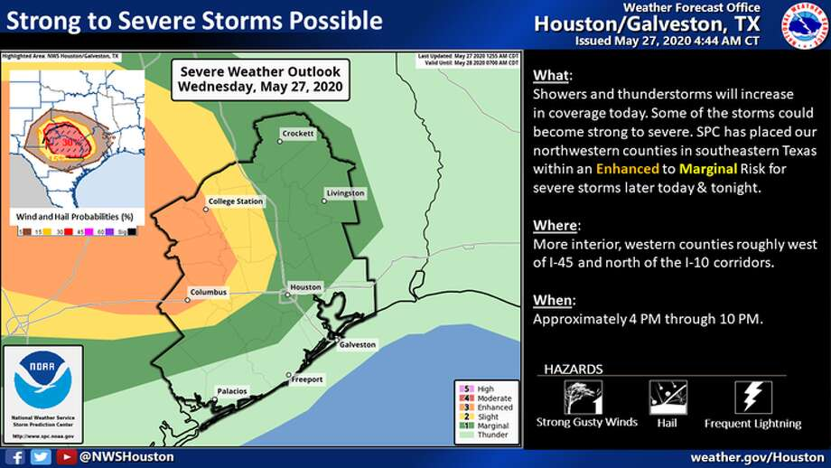 Severe weather is predicted for Houston on Wednesday, May 27, 2020. Photo: National Weather Service