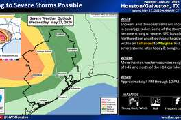 Severe weather is predicted for Houston on Wednesday, May 27, 2020.
