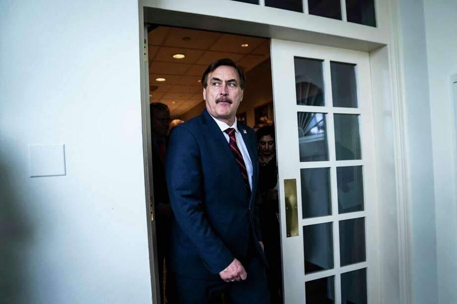 MyPillow CEO Mike Lindell walks out ahead of President Donald Trump to speak with members of the coronavirus task force and reporters during a briefing in response to the covid-19 coronavirus pandemic from the Rose Garden at the White House. Photo: Washington Post Photo By Jabin Botsford / The Washington Post