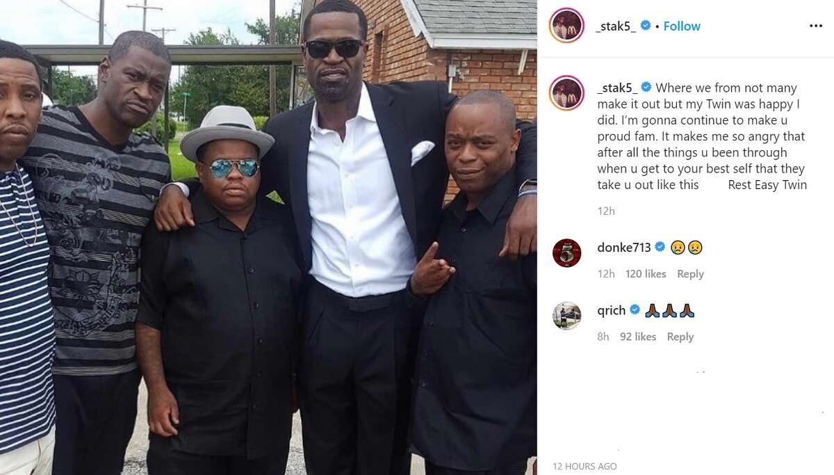 PHOTOS: Stephen Jackson's Instagram posts mourning the loss of his friend George Floyd Longtime NBA player Stephen Jackson (second from right) mourned the death of his close friend George Floyd (second from left), who died in Minneapolis police custody on Monday. (Courtesty of Instagram.com/_stak5_)
