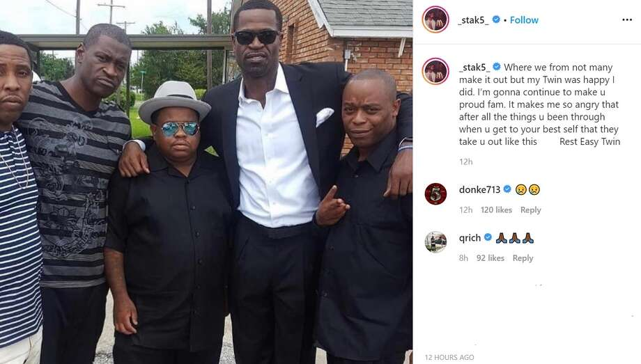 PHOTOS: Stephen Jackson's Instagram posts mourning the loss of his friend George Floyd Longtime NBA player Stephen Jackson (second from right) mourned the death of his close friend George Floyd (second from left), who died in Minneapolis police custody on Monday. (Courtesty of Instagram.com/_stak5_) Photo: Instagram.com/_stak5_