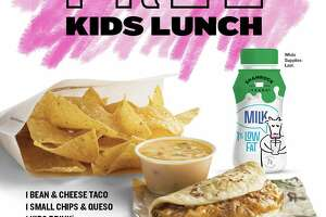 Taco Cabana's free meal offer includes a bean and cheese taco, chips and queso and a drink at all Texas locations from 11 a.m. to noon through the end of the summer. Kids 12 and under qualify.