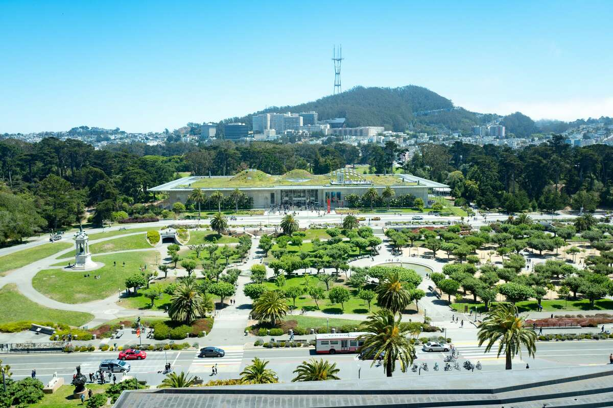 Aerial view of Golden Gate Park and the California Academy of Sciences.
