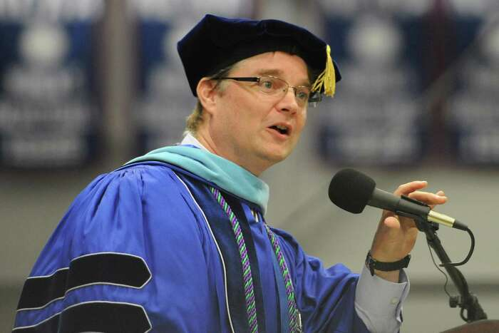 File photo of Thomas H. McMorran speaking at the Joel Barlow High School 2014 Graduation Ceremony at Western Connecticut State University's O'Neill Center in Danbury, Conn. Wedneday, June 18, 2014. McMorran is retiring as the superintendent of Easton, Redding and Region 9 after five years and another eight years as the districts' assistant superintendent.