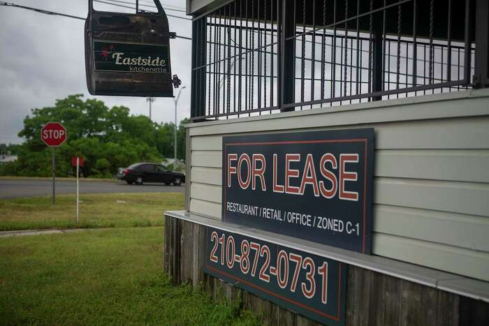 """""""For lease"""" signs hang outside of the now closed Eastside Kitchenette in San Antonio on May 12. The restaurant was not able to stay open without dine-in customer support."""