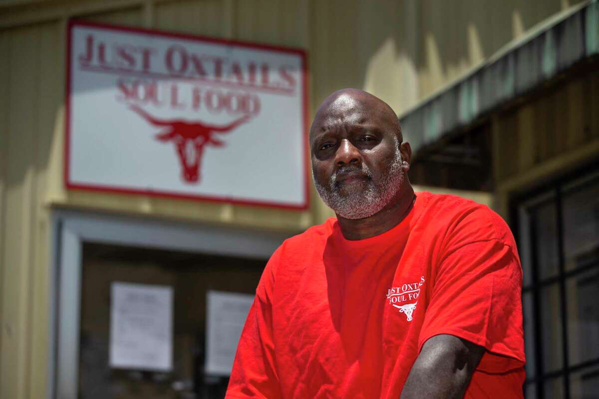 Kenneth Washington, owner of Just Oxtails Soul Food, outside his restaurant on May 11 in Houston, when he was waiting to see if he would get loan and wondering if he'd be able to open again.