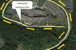 Location of East Haven protective mask giveaway Saturday, May 30, at the rear of East Haven High School