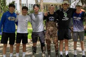 Members of the Midland cooperative boys' lacrosse team who helped with flood relief efforts over three days last week included (from left) Steven Hackbarth, Gabriel Malace, Mason Reed, Cal Stearns, Ryan Kreusch, and Forrest Rich.