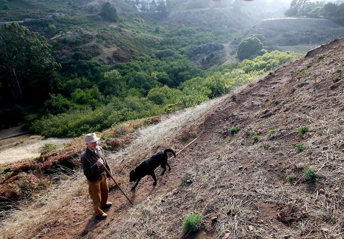 Leo Hainzl and his dog, Fritz, in Glen Canyon , in San Francisco, Calif. Sunday, Aug. 3, 2008.
