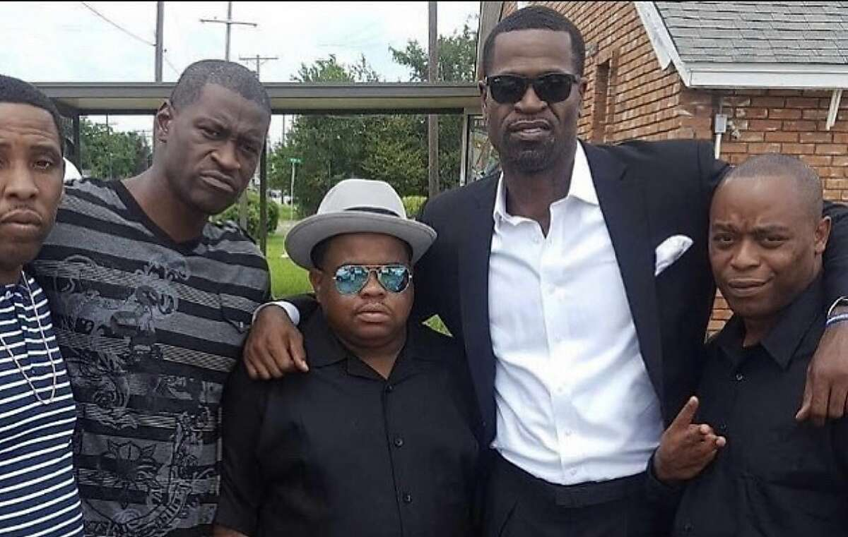 Stephen Jackson (second to right) poses for a picture with George Floyd (second to left) and friends.