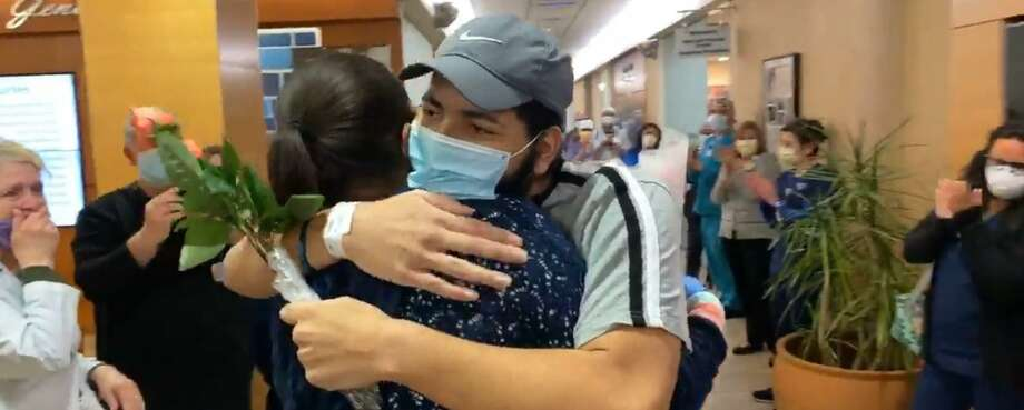 Rodney Davis, 21, is released from St. Vincent's Medical Center, Bridgeport, on May 3, 2020. He was the hospital's first COVID-19 patient. Photo: St. Vincent's Medical Cener / Contributed