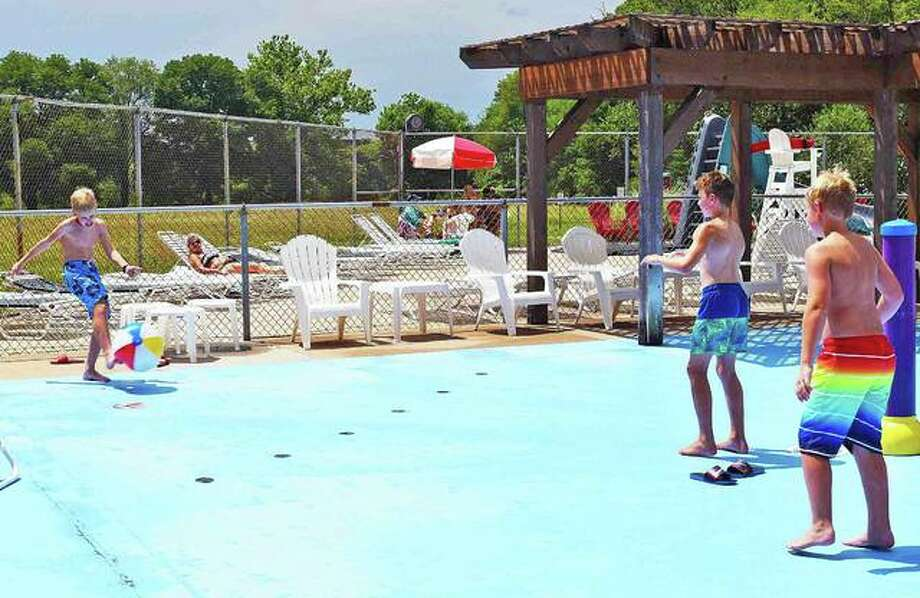In this July 2019 photo, kids play kickball at the Edwardsville/Glen Carbon Community Pool.