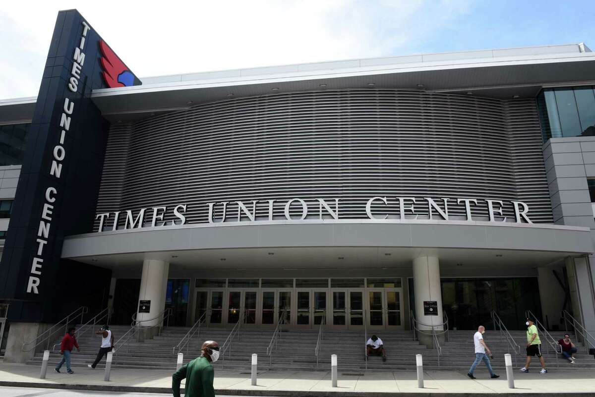Exterior of the Times Union Center on Wednesday, May, 27, 2020, on S. Pearl Street in Albany, N.Y. The downtown Albany venue could host graduation ceremonies as soon as August, if approved. (Will Waldron/Times Union)