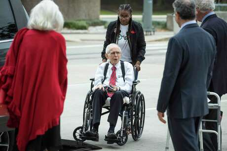 James Dannenbaum arrives to the Bob Casey United States Courthouse to appear in court on allegations of election fraud on Friday, Nov. 22, 2019, in Houston. Dannenbaum, a former University of Texas regent and ex-CEO of an influential engineering firm, faces sentencing after pleading guilty to coordinating election fraud, involving alleged improper donations his employees made to three candidates for U.S. Congress.