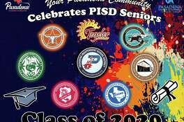 Signs emblazoned with the logos of all seven Pasadena ISD high schools are scattered around the community as part of a scavenger hunt for graduating seniors in which they can win prizes such as gift cards, gas cards, T-shirts and umbrellas.