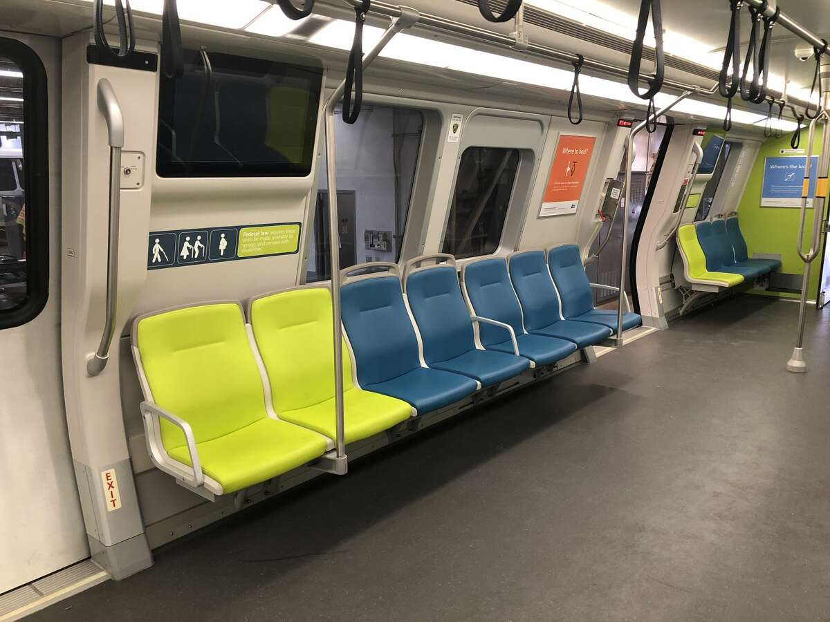 Reconfigured seats on a BART train car. The transit system is looking into changing seating in cars to it make it easier to preserve physical distancing.