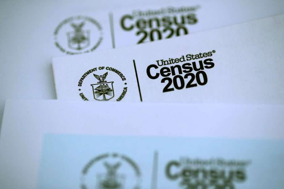 SAN ANSELMO, CALIFORNIA - MARCH 19: The U.S. Census logo appears on census materials received in the mail with an invitation to fill out census information online on March 19, 2020 in San Anselmo, California. The U.S. Census Bureau announced that it has suspended census field operations for the next two weeks over concerns of the census workers and their public interactions amid the global coronavirus pandemic. (Photo Illustration by Justin Sullivan/Getty Images) Photo: Justin Sullivan / Getty Images / 2020 Getty Images