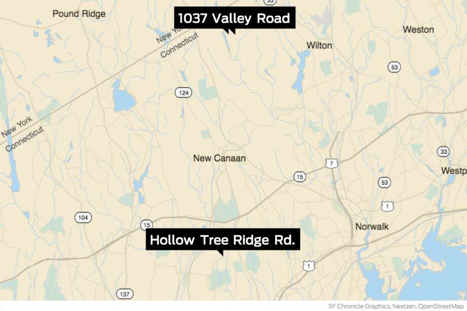 A map shows the location of Monday's alleged attack on a woman on Valley Road in New Canaan, and a similar April incident that a woman reported to Darien Police after seeing reports of Monday's incident. Photo: John Kovach / Hearst Connecticut Media / Stamford Advocate