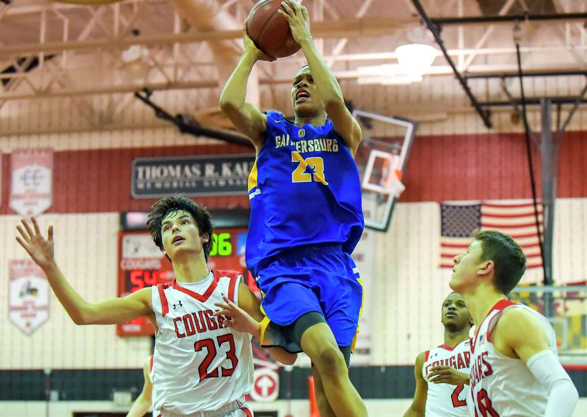 GAITHERSBURG, MD - FEBRUARY 22: Jordan Hawkins (23) of Gaithersburg High School shoots over Andy Wexler (23) of Quince Orchard High School at Quince Orchard High School on February 22, 2019 in Gaithersburg, MD. (Photo by Will Newton for The Washington Post via Getty Images)
