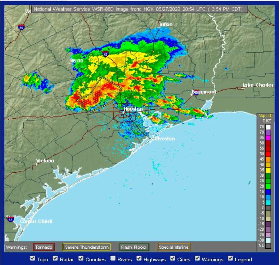 Radar shows severe weather headed toward Houston on the afternoon of Wednesday, May 27. Photo: National Weather Service