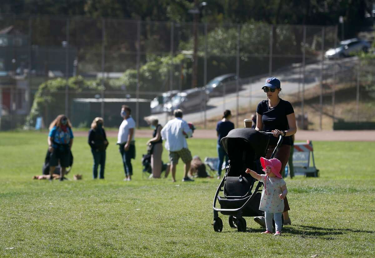 Visitors enjoy a warm day at Glen Canyon Park in San Francisco, Calif. on Wednesday, May 27, 2020. Longtime neighborhood resident Shawn Zovod had an unpleasant exchange with a mentally ill homeless man several months ago who is the suspect in the killing of a 94-year-old man.