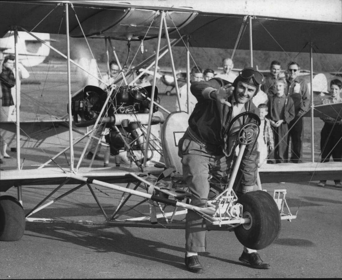 Peter M. Bowers of Seattle with replica of Glen Curtis aircraft - Boeing aircraft test engineer. May 29, 1959 (Times Union Archive)