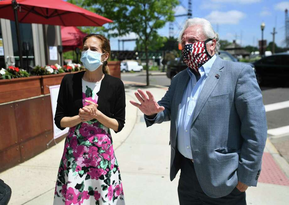 From left; Norwalk Mayor Harry Rilling, right, leads Lt. Governor Susan Bysiewicz on a walking tour of the Washington Street retail and restaurant district in Norwalk, Conn. on Wednesday, May 27, 2020. Photo: Brian A. Pounds / Hearst Connecticut Media / Connecticut Post