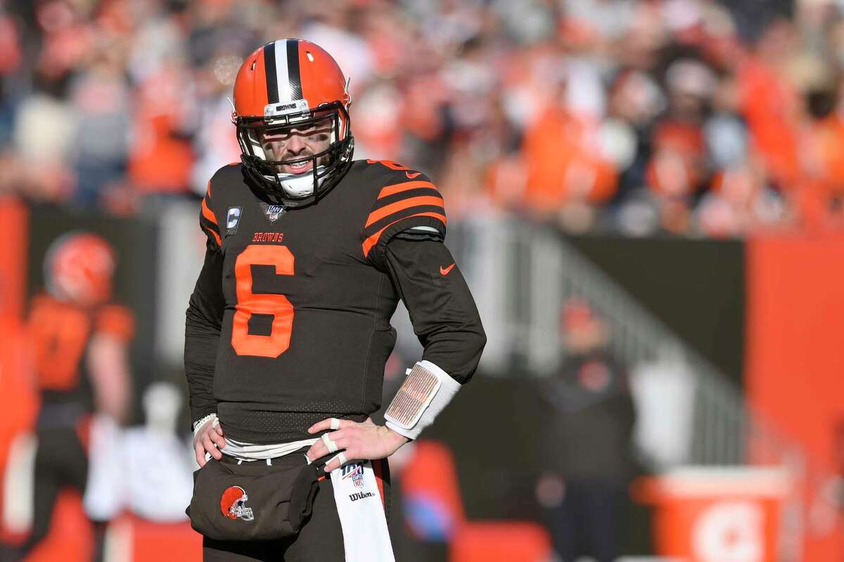 FILE - In this Dec. 22, 2019, file photo, Cleveland Browns quarterback Baker Mayfield reacts during an NFL football game against the Baltimore Ravens in Cleveland. The Browns quarterback said being away from football has given him time to reflect on his career and made him more determined to rebound from a tough second season in the NFL. Mayfield spoke Wednesday, May 27, 2020, on a Zoom call for the first time since the end of last season. (AP Photo/David Richard, File)