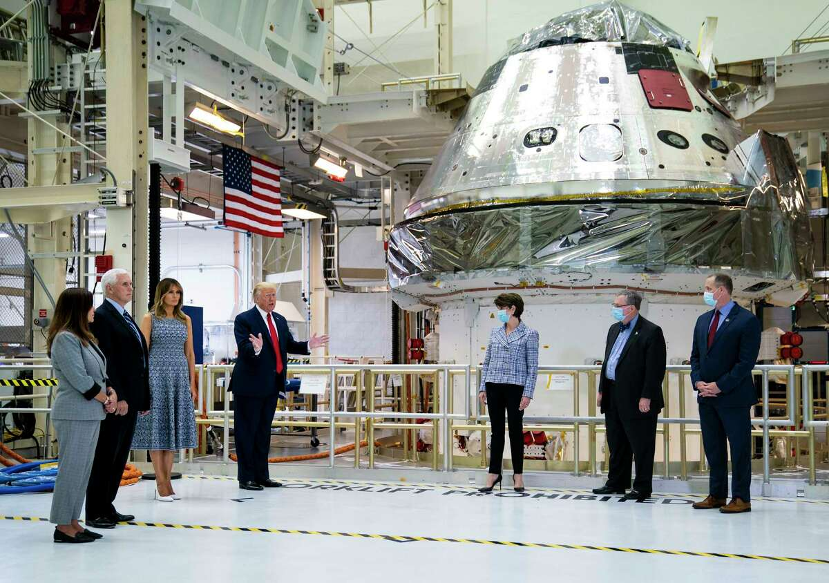 From left, Karen Pence, Vice President Mike Pence, first lady Melania Trump and President Donald Trump during a tour of NASA facilities at Kennedy Space Center in Cape Canaveral, Fla., Wednesday, May 27, 2020. The president was scheduled to watch the launch of the SpaceX Falcon 9 rocket and Crew Dragon spacecraft, with two astronauts aboard, but it was scrubbed due to weather. (Doug Mills/The New York Times)