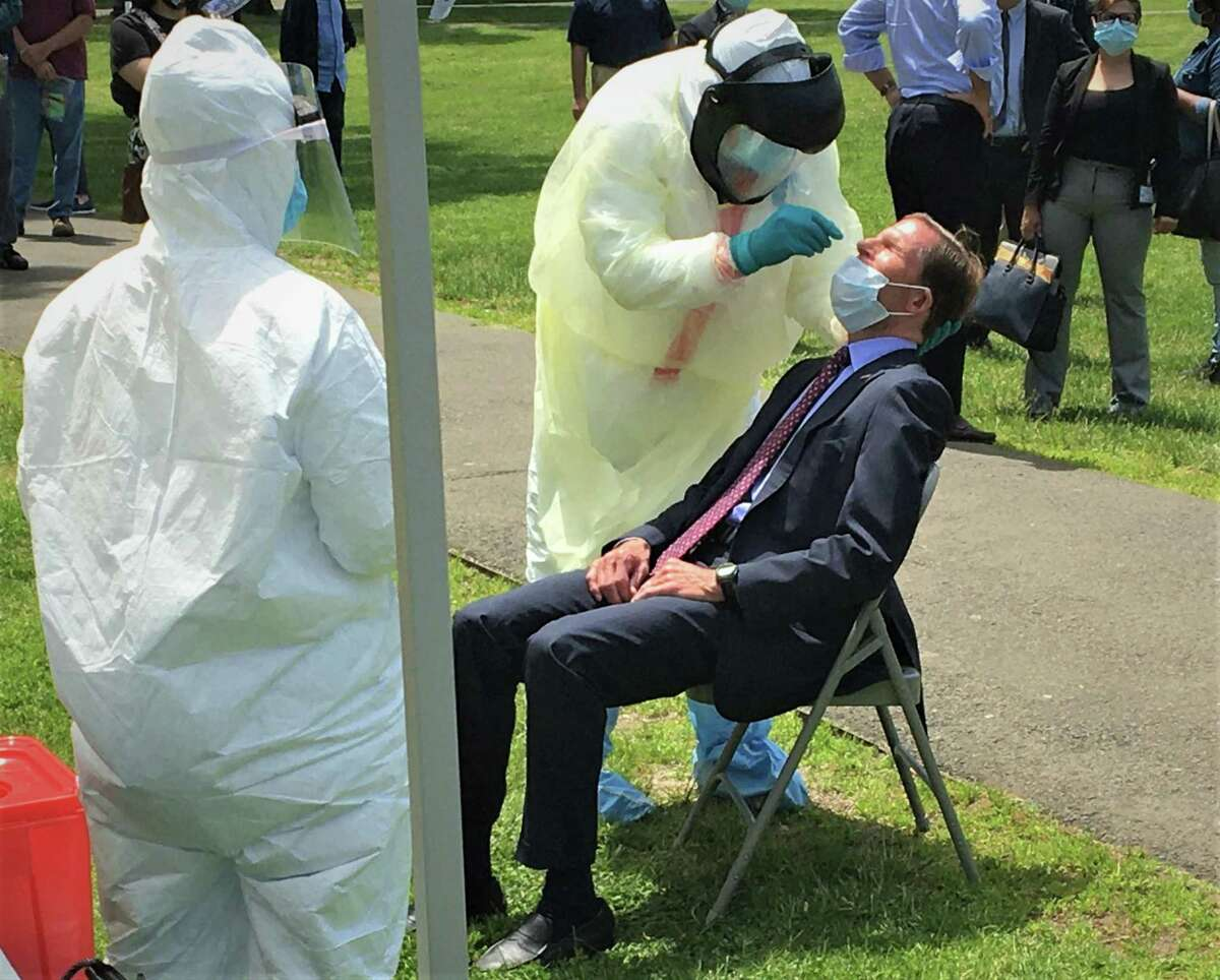 Sen. Richard Blumenthal had his first coronavirus test in a very public place, the New Haven Green at an event designed to boost testing of city residents on Wednesday, May 27, 2020. Some testing sites have seen demand exceed capacity. In Norwalk, residents seeking COVID tests were turned away. But Anderson said those were