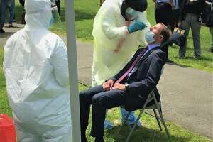 Sen. Richard Blumenthal had his first coronavirus test in a very public place, the New Haven Green at an event designed to boost testing of city residents on Wednesday, May 27, 2020.