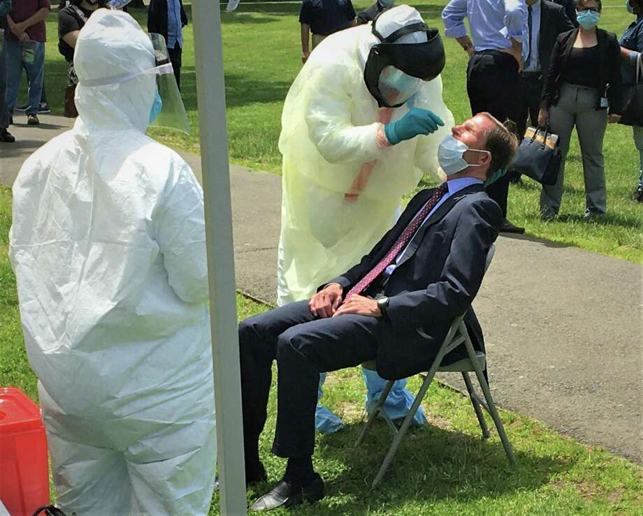 Sen. Richard Blumenthal had his first coronavirus test in a very public place, the New Haven Green at an event designed to boost testing of city residents on Wednesday, May 27, 2020. Photo: Ken Dixon/Hearst Connecticut Media