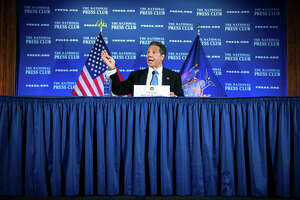 New York Gov. Andrew Cuomo conducts a news conference on the COVID-19 pandemic at the National Press Club in Washington, D.C., after a meeting with President Trump at the White House on Wednesday, May 27, 2020.