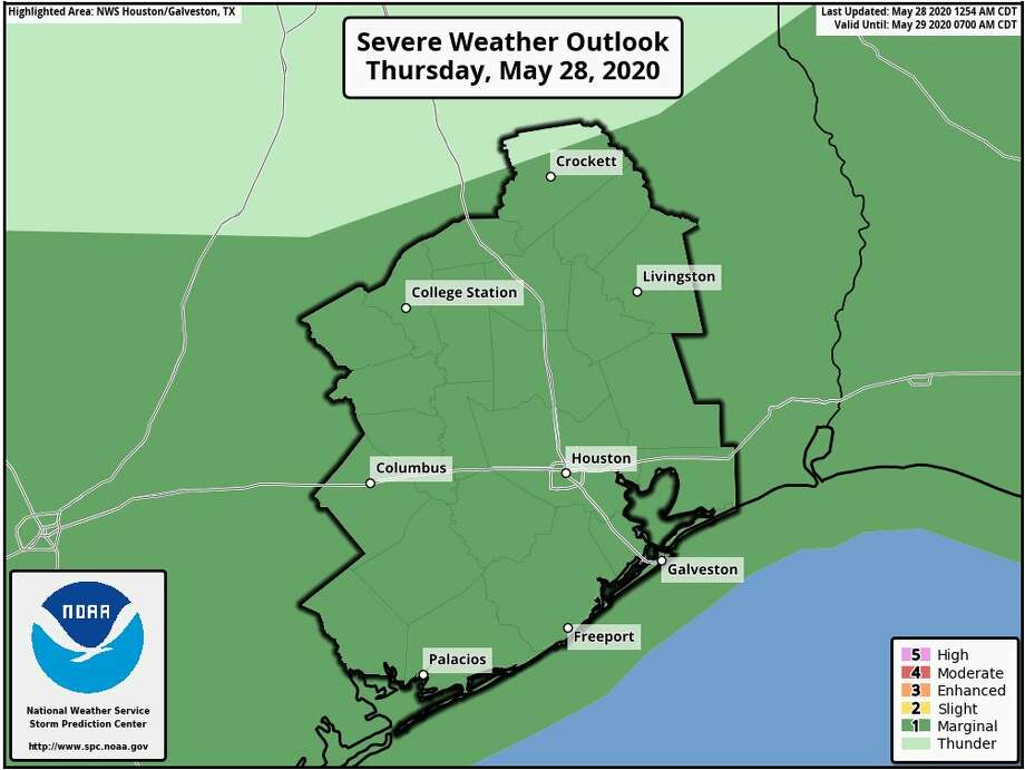 Rain showers and thunderstorms are predicted in Houston on Thursday, May 28, 2020. Photo: National Weather Service